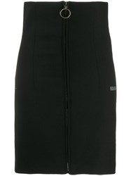 Off White Zipped Fitted Skirt Black