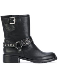 Red Valentino Eyelet Boots Women Leather Rubber 39 Black
