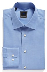 David Donahue Men's Big And Tall Regular Fit Houndstooth Dress Shirt Blue