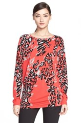 Escada Leopard Print Wool Blend Tunic Red