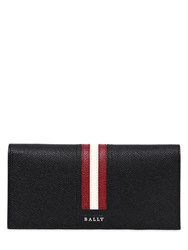 Bally Striped Saffiano Leather Wallet Black Red