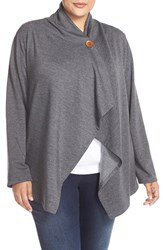 Plus Size Women's Bobeau One Button Fleece Cardigan Heather Charcoal