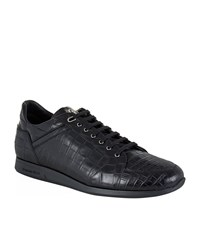 Stefano Ricci Crocodile Skin Low Top Sneakers Male Black