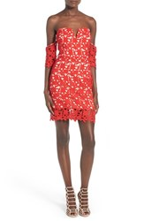 J.O.A. Women's Lace Sweetheart Off The Shoulder Dress Red