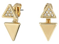 Rebecca Minkoff Double Triangle Front To Back Earrings Gold Toned Crystal Earring
