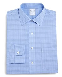 Brooks Brothers Non Iron Classic Fit Glen Plaid Dress Shirt Blue
