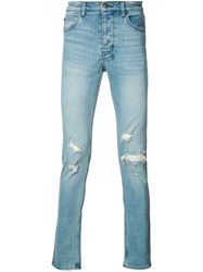 Ksubi Distressed Skinny Jeans Men Cotton 30 Blue