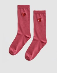 Ganni Classon Embroidery Socks In Hot Pink