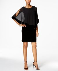 Msk Velvet Chiffon Overlay Dress Black