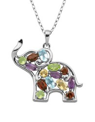 Lord And Taylor Multi Stone Elephant Pendant Necklace