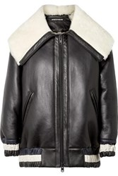 House Of Holland Oversized Leather And Shearling Jacket Black