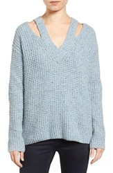 Rebecca Minkoff Women's 'Draco' Waffle Knit Shoulder Cutout Sweater Light Blue Multi