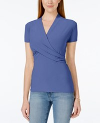 Charter Club Short Sleeve Crossover Wrap Top Only At Macy's Worldly Blue