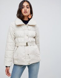 New Look Short Ruched Padded Coat White