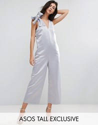 Asos Tall Satin Minimal Occasion Jumpsuit With Tie Shoulder Detail Silver