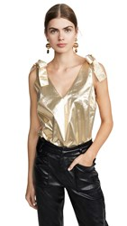 Amanda Uprichard Josephina Top Gold Metallic