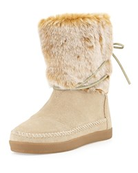 Nepal Suede Boot With Faux Fur Cuff Oxford Tan Toms