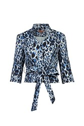Jolie Moi Leopard Print High Collar Belted Blazer Grey