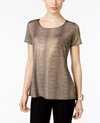 Ny Collection Metallic T Shirt Gold Foil