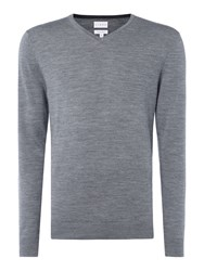 Linea Thames V Neck Merino Jumper Grey