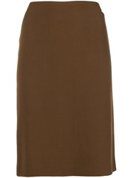 Romeo Gigli Vintage Fitted Midi Skirt Brown
