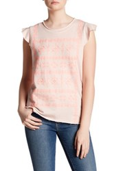 Democracy Embroidered Flutter Sleeve Tee Pink