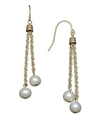 Honora 6Mm White Pearl And 14K Yellow Gold Chain Drop Earrings