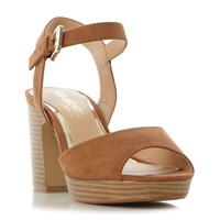 Head Over Heels Jewel Stacked Heel 2 Part Sandals Tan