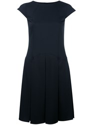 Jil Sander Navy Cap Sleeve Pleated Dress Blue