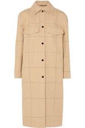 By Malene Birger Woman Keiko Checked Cotton And Linen Blend Canvas Coat Tan
