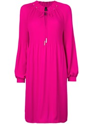 Marc Cain Balloon Sleeve Smocked Dress Pink And Purple