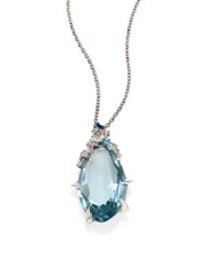 Alexis Bittar Fine Blueberry Marquis Blue Topaz Sapphire Diamond And Sterling Silver Pendant Necklace Silver Blue