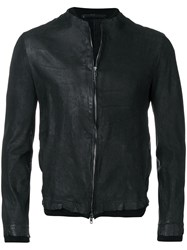 Salvatore Santoro Leather Bomber Jacket Black