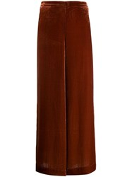 Bellerose Velour Cropped Palazzo Trousers Brown