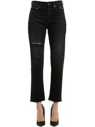 Saint Laurent Embroidered And Ripped Cropped Denim Jeans