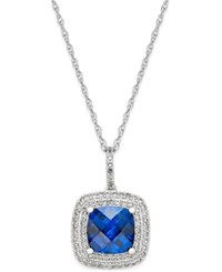 Macy's Lab Created Blue Sapphire 2 1 2 Ct. T.W. And White Sapphire 1 3 Ct. T.W. Pendant Necklace In Sterling Silver