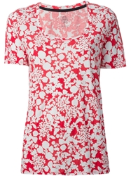 Tory Burch 'Esther' Floral Print T Shirt Red