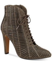 Vince Camuto Megara Studded Lace Up Booties Women's Shoes Forest Grey
