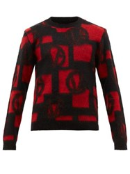 Versace Vg Logo Jacquard Sweater Black Red