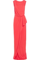 Vionnet Draped Stetch Jersey Maxi Dress Red
