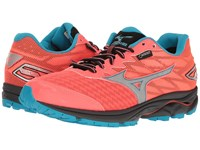 Mizuno Wave Rider 20 Gtx Fiery Coral Atomic Blue Silver Women's Running Shoes Orange