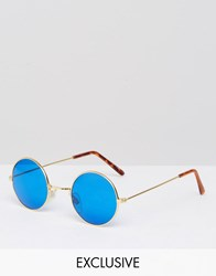 Reclaimed Vintage Round Sunglasses With Blue Lens Gold