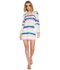 Lilly Pulitzer Getaway Cover Up Multi Cats Meow Stripe Women's Dress White