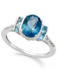 Macy's Blue Topaz 2 1 5 Ct. T.W. And Diamond Accent Ring In 14K White Gold