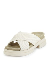 Ash Star Snake Embossed Crisscross Sandal Off White Clay