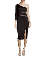 Abs By Allen Schwartz Asymmetric Neckline Front Slit Dress Black