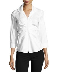 Lafayette 148 New York Lucile Ruched Zip Front Blouse Black