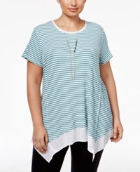 Styleandco. Style Co. Plus Size Striped Handkerchief Hem Top Only At Macy's Green Nectar