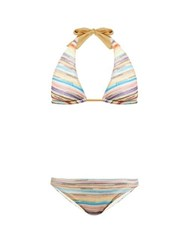 Missoni Mare Striped Knitted Mesh Bikini Multi