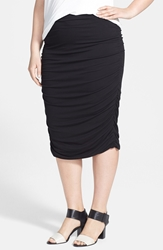 Vince Camuto Ruched Stretch Knit Midi Skirt Plus Size Rich Black